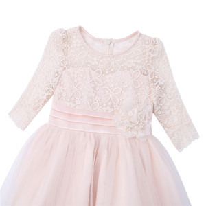 Image 4 - Girls Floral Lace Mesh Half Sleeves Flower Girl Dress A Line Tea Length Princess Pageant Birthday Wedding Party Dress SZ 4 14