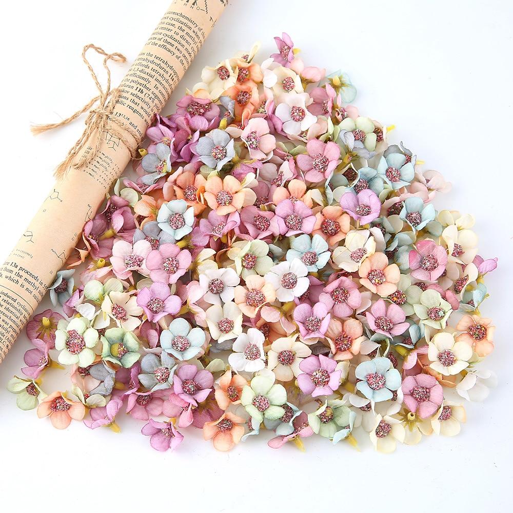 50pcs/lot 2CM mini silk sunflower Daisy wedding home decoration artificial flower head diy wreath scrapbook gift box