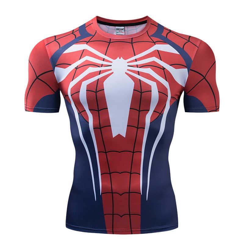 Компрессионные футболки с рукавами реглан, футболки с 3D принтом Человека-паука для мужчин, новинка 2019, футболки для комиксов, мужской костюм для бодибилдинга
