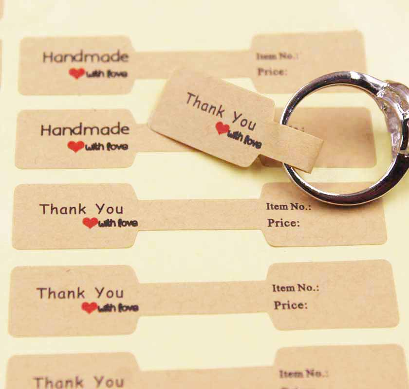 100PCS Multi Style Paper Folded Ring Labels White/kraft Thank You Self Adhesive Price Labels Sticker For Jewelry  6*1.20cm