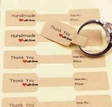 100PCS multi style paper folded ring labels white/kraft thank you self adhesive price sticker for jewelry  6*1.20cm