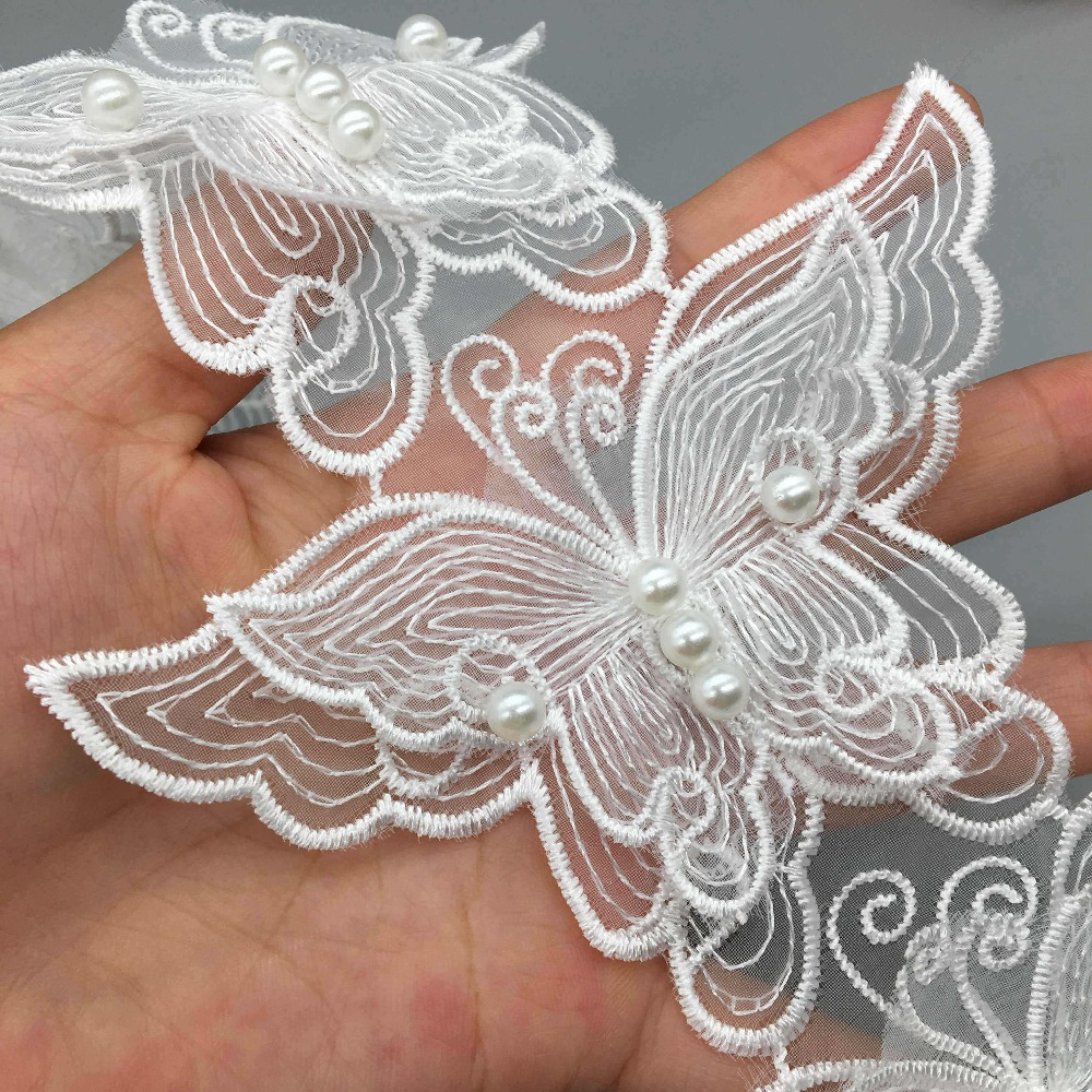 10pcs Organza Butterfly Pearl Trim Applique Lace Trimmings Beads Ribbons Sewing
