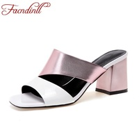 FACNDINLL Women High Qulaity Genuine Leather Shoes Fashion Patchwork High Heels Ladies Open Toe Casual Sandals