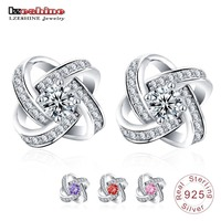 LZESHINE 100 Genuine Sterling Silver Jewelry Earrings Stud With CZ Stone Silver Earrings For Women Wedding