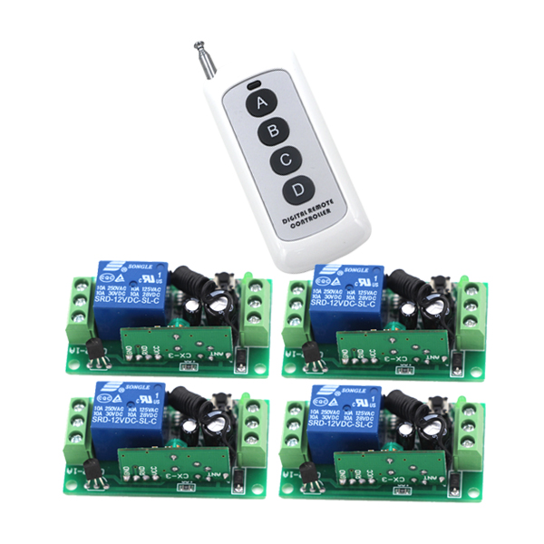 Free Shipping 1CH Radio Wireless Remote Control Light Switch with 1Transmitter + 4Receiver 315/433.92 MHZ for Smart Home 2pcs receiver transmitters with 2 dual button remote control wireless remote control switch led light lamp remote on off system