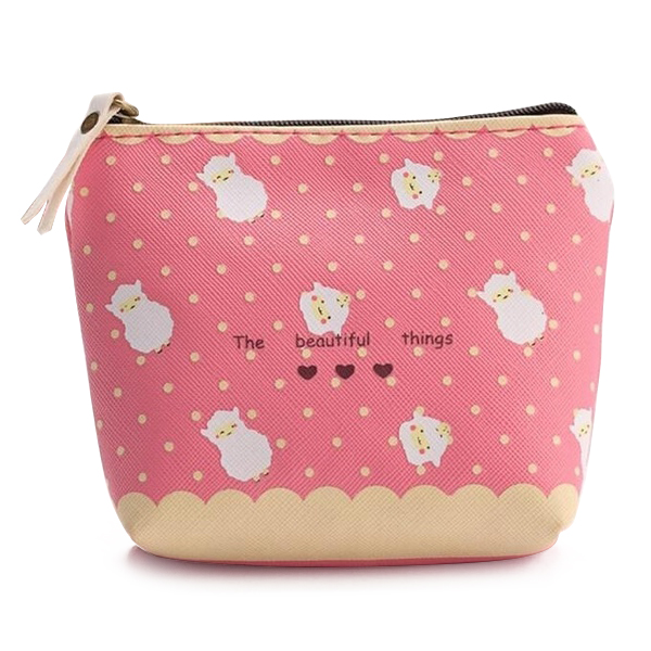Fashion Boutique Pink Lovely Cartoon Animals Waterproof Zipper Small Portable Key Coin Purse Bag