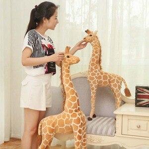Image 2 - Jirafa de peluche con forma de animales para niños, muñeco de felpa con forma de jirafa, realista, simulación de ciervo, regalo de Navidad