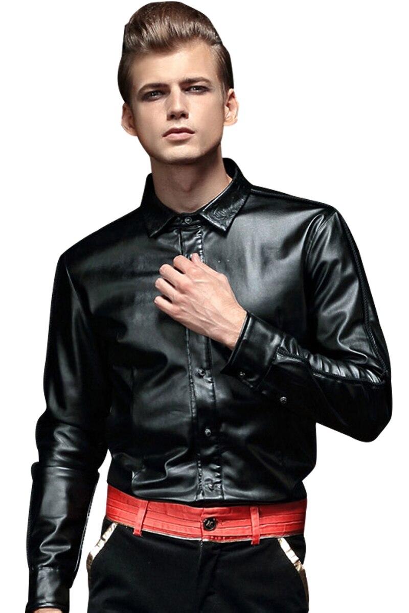 FanZhuan شحن مجاني جديد أزياء الرجال عارضة الذكور بأكمام طويلة الشتاء جلد قميص بلوزة الدافئة سميكة المخملية التطريز 14291-في قمصان كاجوال من ملابس الرجال على  مجموعة 2