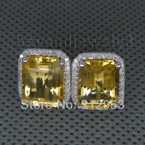 Vintage Emerald Cut 8x10mm 14kt White Gold Yellow Citrine Earrings Diamond Earring For E0003 In From Jewelry Accessories On