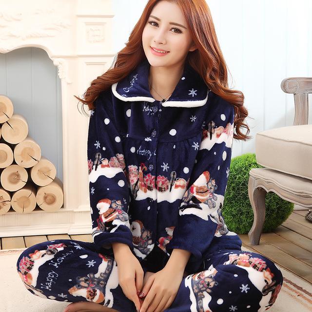 2017 otoño y el invierno de franela salón de la ropa femenina de las mujeres de coral polar engrosamiento de invierno ropa de manga larga twinset