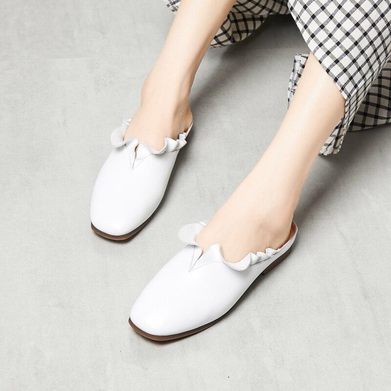 Women Mules Genuine Leather White Women Shoes Low Heels Spring 2019 Women Leather Slippers Ruffles Handmade