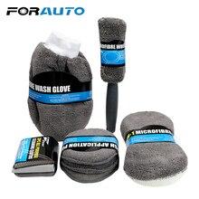 9Pcs Car Wash Cleaning Kit Include 3* Microfiber Towels, 3* Applicator Pads, Wash Sponge, Wash Glove, Wheel Brush Microfiber
