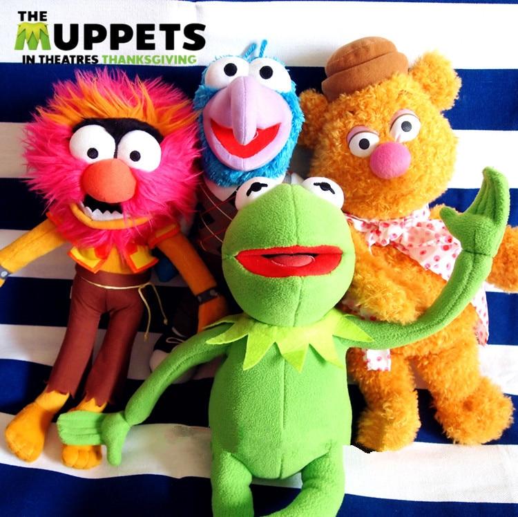 New The Muppets Kermit Frog & Gonzo & Fozzie bear & ANIMAL Plush Doll Toy 4PCS Gift