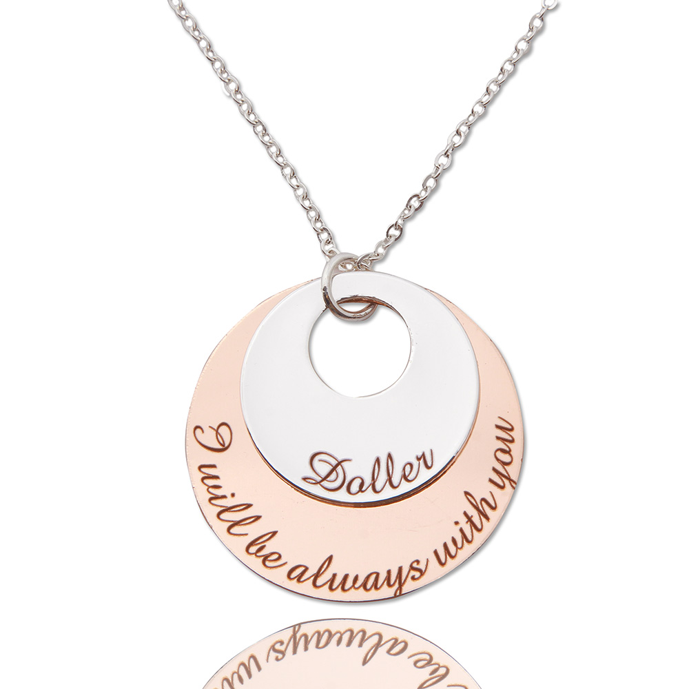 """Wishes & Personalized Necklace Two Tone Copper Disc Women Jewelry Mother's  Day Gift """"letters Can Be Changed As You Want""""-In Pendant Necklaces From  Jewelry"""