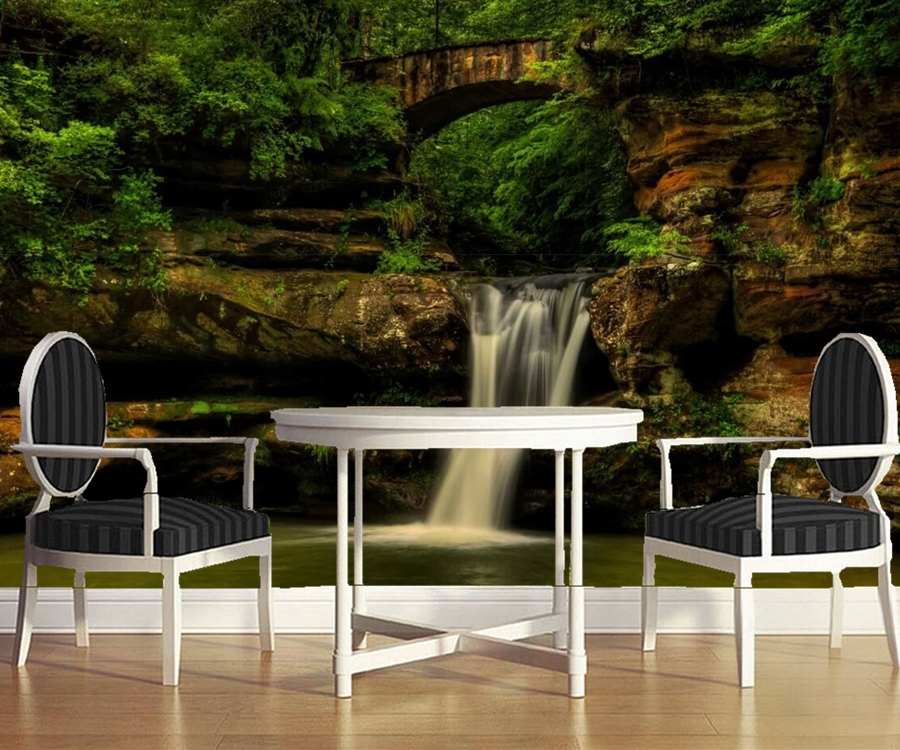 Waterfalls Bridges State Park Nature Wallpaperbar Coffee Shop Dining Room Living Bedroom Kitchen Tv Sofa Wall 3d Murals