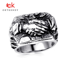 Oktrendy fashion unique god lucky hand punk man ring 316L stainless steel funny design rock biker jewelry party gift