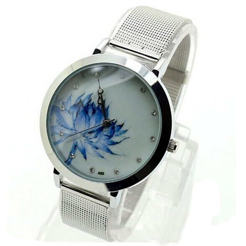 Women Watches Women's Fashion Blue Lotus Stainless Steel Mesh Quartz Wrist Watch Gift Relogio reloj mujer Montre for women O26