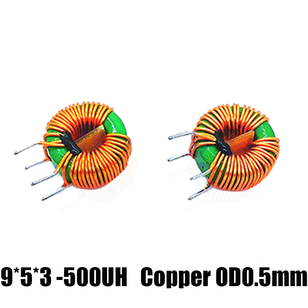 10Pcs 500UH 9-5-3 Toroid Core Common Mode Inductor Choke Coil Switching Power Output Smoothing Circuits Copper OD 0.5mm