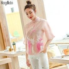 Nagodo Chinese Cheongsam Top 2019 Summer Girls Embroidered Tops Silk Haut Stand Collar Slim Shirts Qipao Blouse