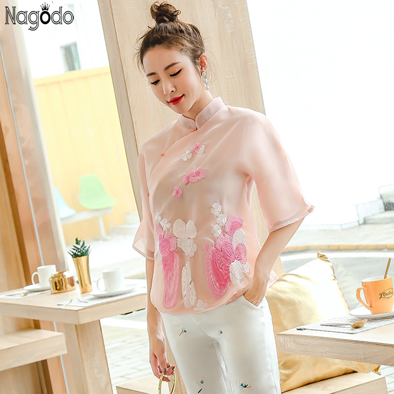 Nagodo chinois Cheongsam Top 2019 filles d'été brodé hauts en soie Haut col montant Slim chinois chemises Qipao Blouse