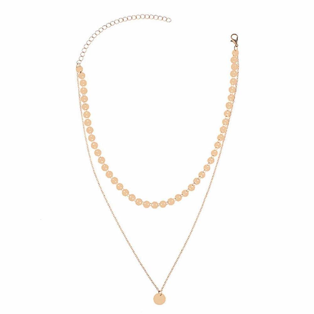 قلادة أنيقة البرية النساء الملابس والاكسسوارات قلادة عملة ذهبية الموضة الفاخرة الطبقات المختنق قلادة للنساء 2019 L0325