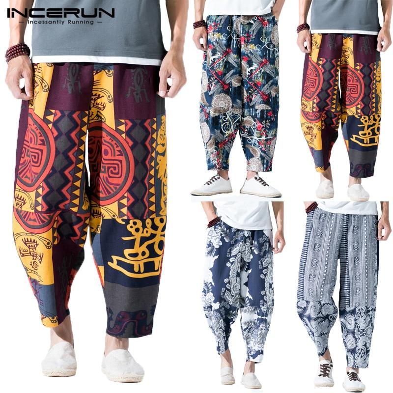 INCERUN Ethnic Print Men Harem Pants Cotton Elastic Waist Joggers Vintage Trousers Men Streetwear Nepal Loose Casual Pants 2020
