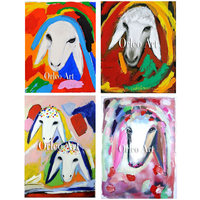 Hand Painted Reproduction on Canvas for Room Decor Color Sheep Head Menashe Kadishman Art Imitation Painting Animal Oil Painting