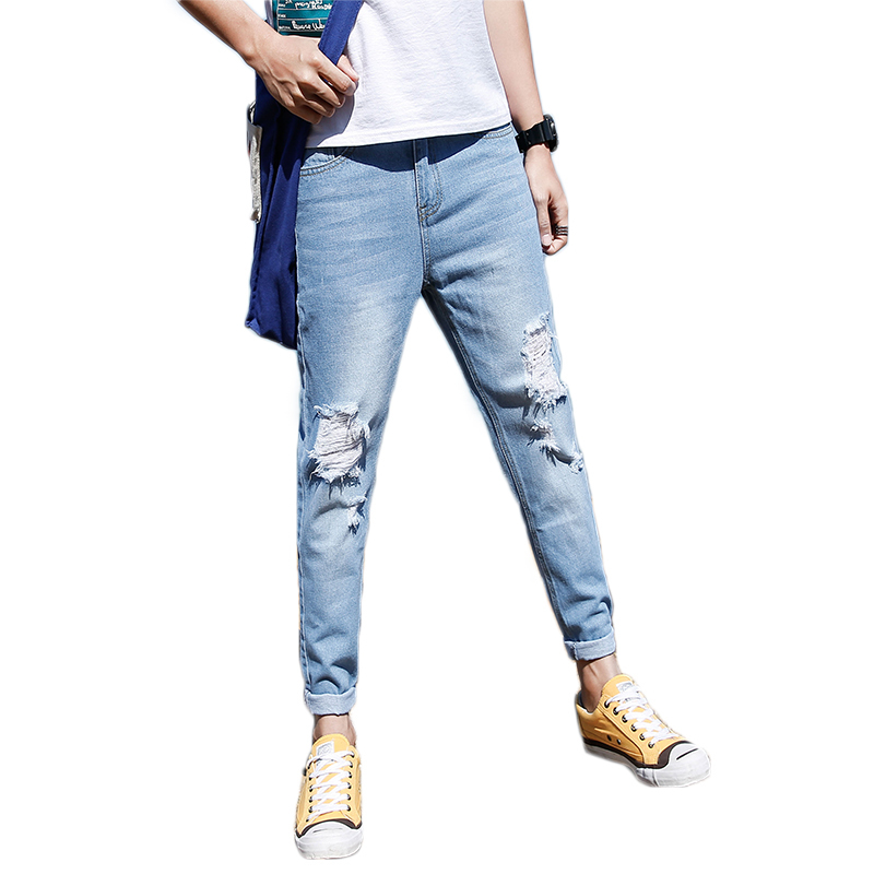 Original New Pattern 2018 Spring Summer Man Holes Jeans Korean Trend Nine Part Port Aberdeen Favourite Free shipping