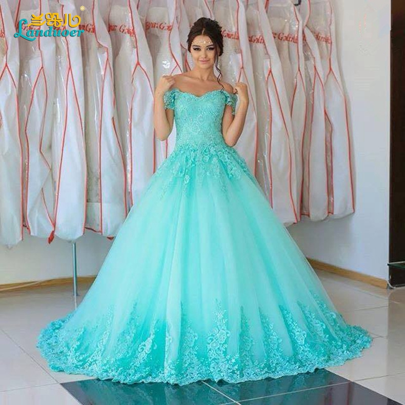 Buy light blue wedding dresses 2017 ball for Light blue lace wedding dress