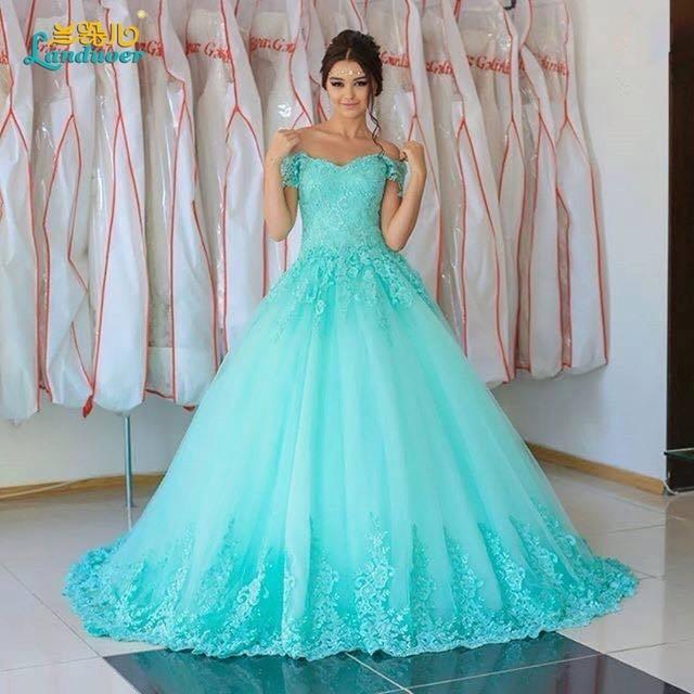 Light blue wedding dresses 2017 ball gown elegant lace up for Light blue beach wedding dress
