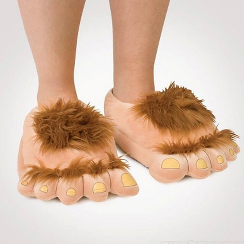 Furry Adventure Warm Slippers Fashion Big Hairy Unisex Savage Monster Hobbit Feet Plush Home Slippers Halloween Indoor shoes warm plush big feet pattern fully wrapped indoor slippers for winter