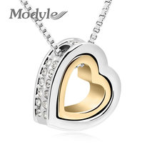 Modyle Brand Gold-Color Austrian Crystal Luxury Brand Heart Necklaces & Pendants Fashion Jewelry for Women 2018(China)