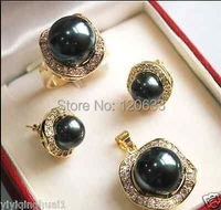 Black Brown 5 Color 10mm 14mm Nanhai Bei Pearl Necklace Earrings Set Silver 18K Gold Plated