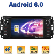 Quad Core 2GB RAM 4G LTE SIM WIFI Android 6.0 Car DVD Player Radio For Jeep Compass Wrangler Chrysler 300C Cirrus Sebring Dodge