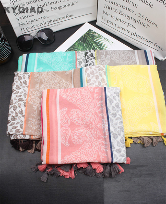 KYQIAO Women scarf female autumn spring Japanese style fresh sweet long yellow green pink grey khaki print scarves cape