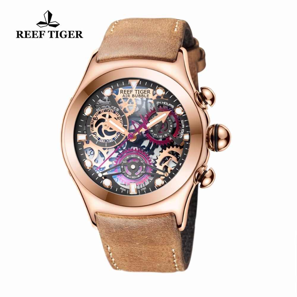 リーフ虎/RT メンズスポーツ腕時計ローズゴールド発光クオーツ時計スケルトン腕時計本革バンド RGA792