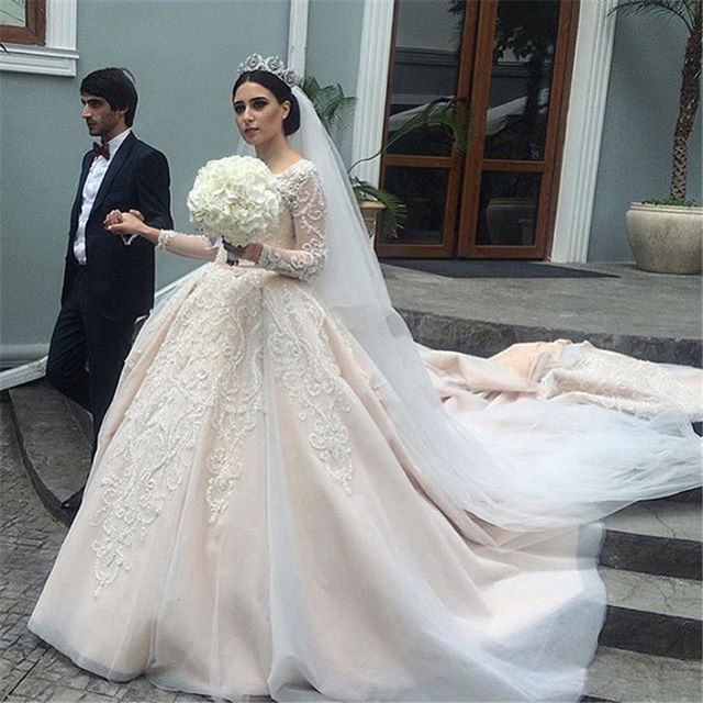 Royal Wedding Ball Gown: Luxury Beading Long Sleeve Stunning Lace Royal Ball Gown