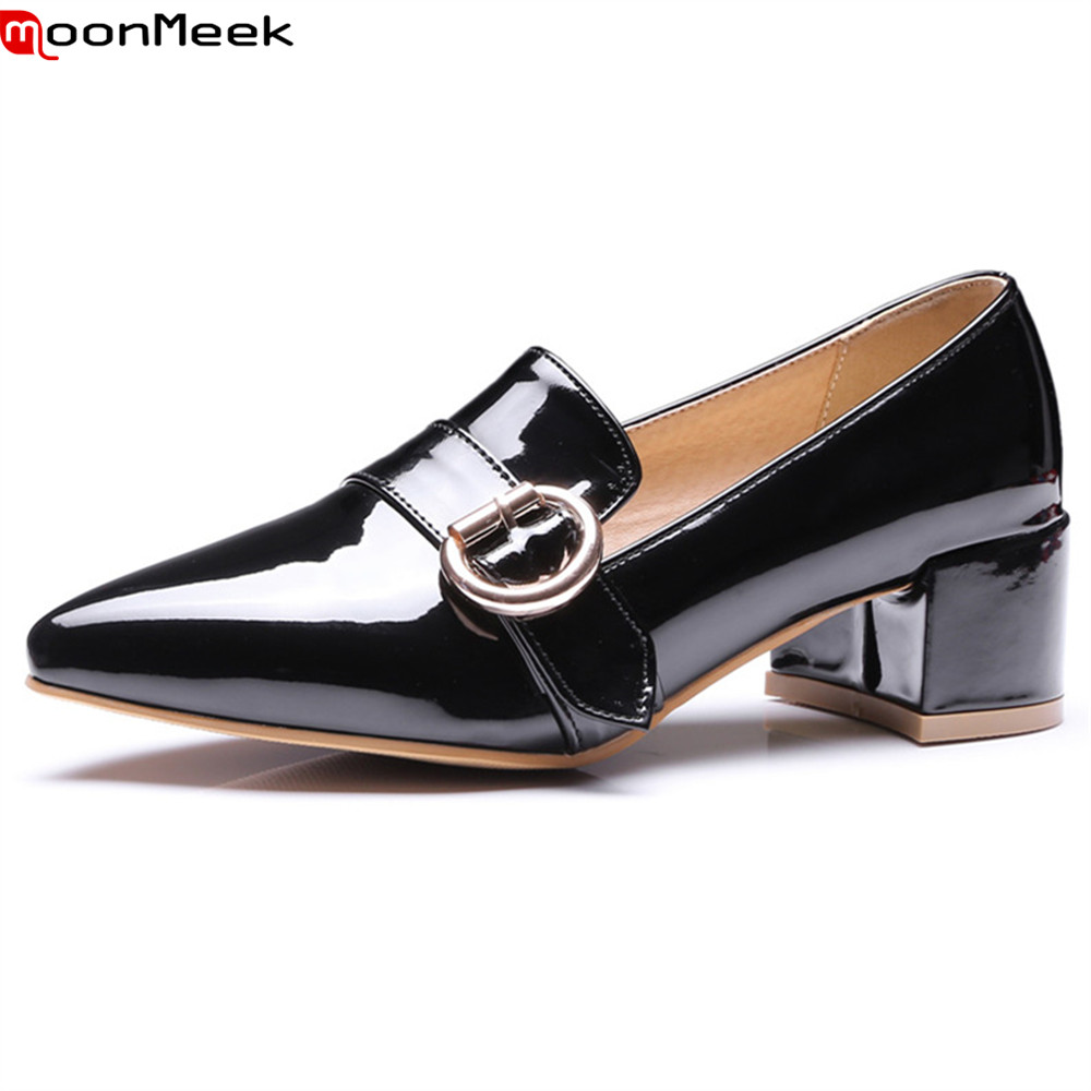 MoonMeek 2018 new fashion pumps women shoes high heels slip on pointed toe square heel simple shallow elegant woman shoes moonmeek new arrive spring summer female pumps high heels pointed toe thin heel shallow party wedding flock pumps women shoes