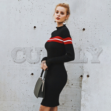 CUERLY Casual turtleneck knitted stripe sweater dress Slim o neck bodycon sexy dress pullover female 2019 Autumn winter dress female autumn winter dress 2017 turtleneck long knitted sweater vestidos women slim bodycon dress casual pullover ws4716c