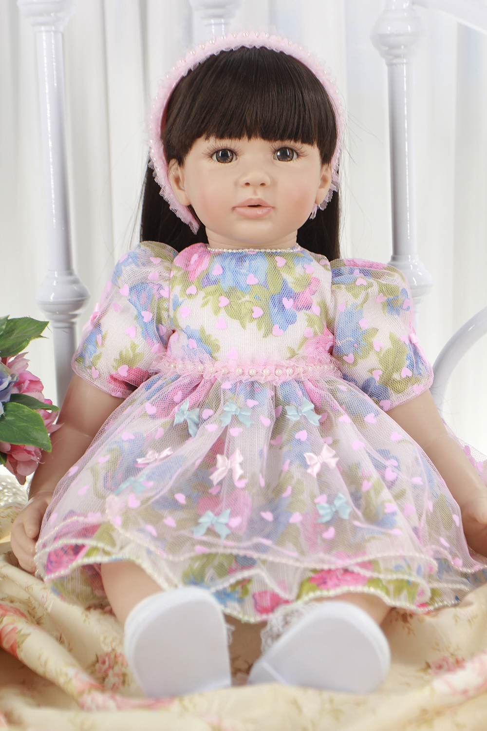 Pursue 24/60 cm New Colorful Butterfly Real Life Baby Doll Reborn Vinyl Silicone Toddler Princess Dolls for Girls Birthday Gift new fashion design reborn toddler doll rooted hair soft silicone vinyl real gentle touch 28inches fashion gift for birthday