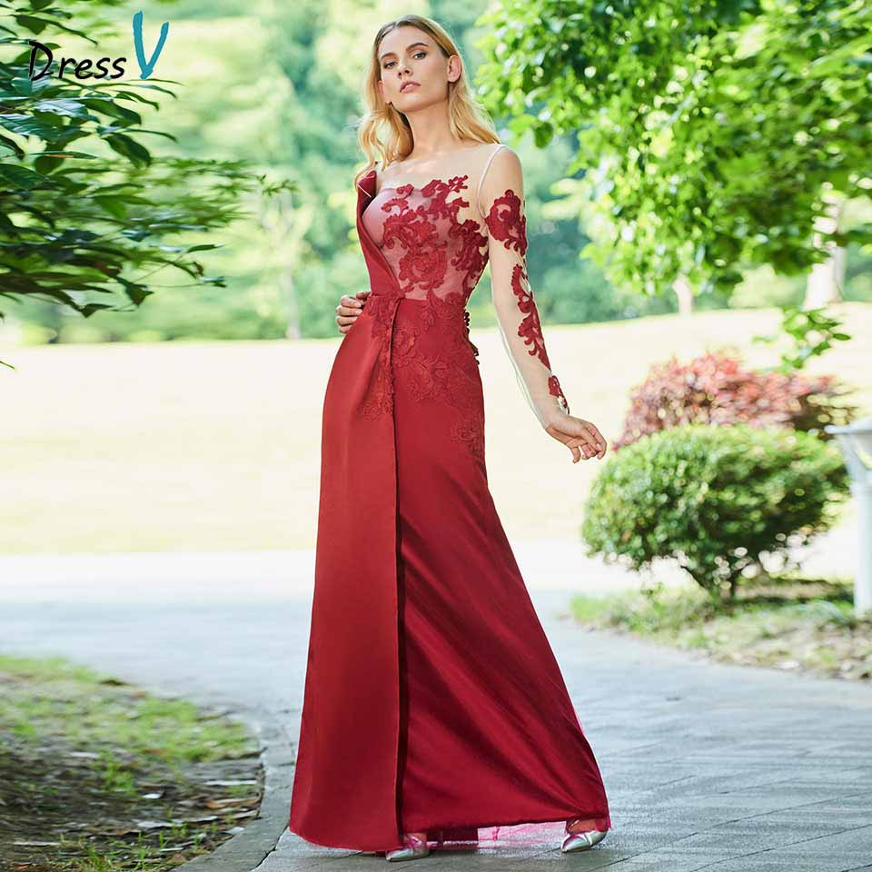 Dressv dark date red mother of bride dress a line long sleeves button appliques long mother evening gown dresses custom