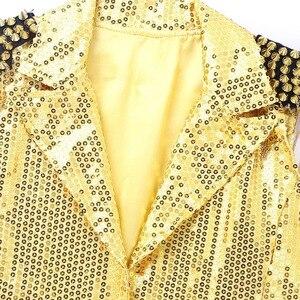 Image 5 - Женский жилет с блестками и воротником TiaoBug, праздничный жилет с кисточками, смокинг, костюм для выступлений, джазовых танцев