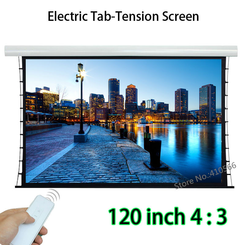 HD 120 inch 4 By 3 Motorized Tab-tension Screen With 12V Trigger Projection Screens For 3D Projector