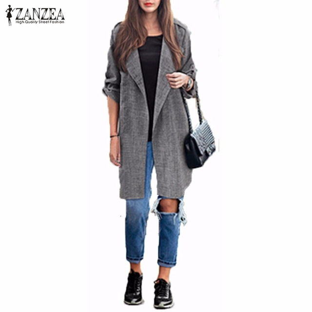 2016 Весна ZANZEA Женщины Тонкий Мода Повседневная Нагрудные Ветровка Плащ Пальто Европейский Стиль Белье Кардиган Куртки Плюс Размер