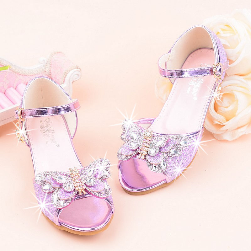Girls High Heels Summer New Princess Sandals Rhinestone Butterfly Children Performance Shoes Kids Dance Student Show Shoes 26-37