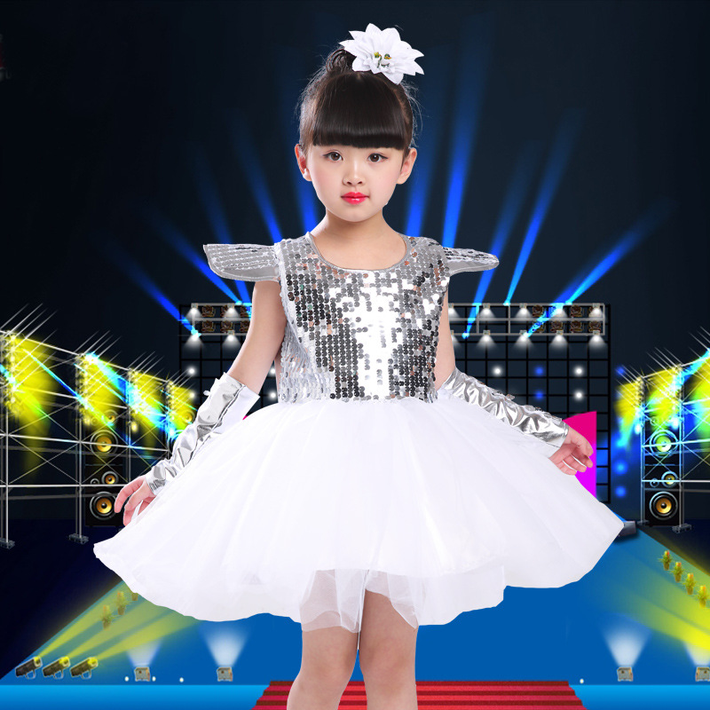 Stage & Dance Wear Girls Ballet Dress Children Girl Jazz Dancing Drums Dance Clothing Kids Sequins Fluffy Yarn Dress Costumes Dance Stage Dancewear Low Price