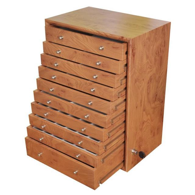 Merveilleux 10 Drawer Wood Storage Drawer Jewelry Box Makeup Necklace Earring Ring Gift  Holder Packaging Household