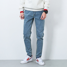 Men jeans male retro fashion casual solid color jeans trousers streetwear male slim fit denim pant blue gray