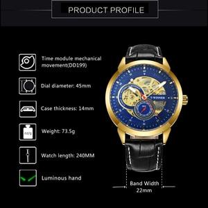 Image 3 - Vencedor oficial relógio mecânico automático masculino esqueleto relógios dos homens marca superior luxo pulseira de couro analógico relógios de pulso para o homem