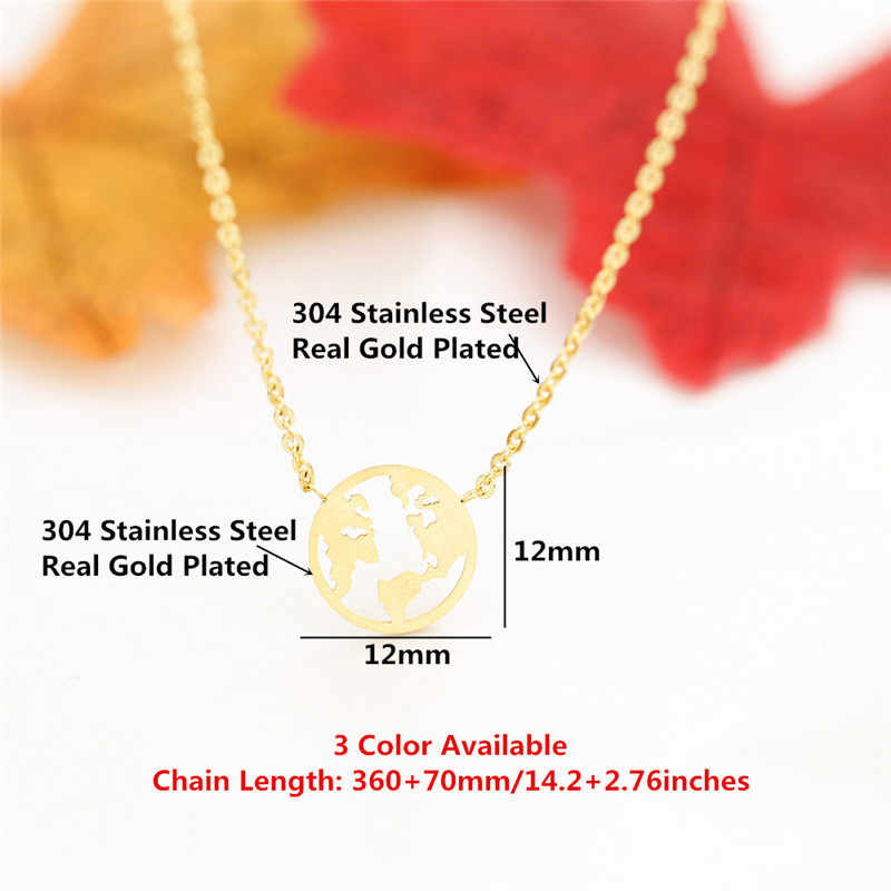 Earth Globetrotter Necklace Femme Gold Color Map Necklaces Women Jewelry Bff Gifts Stainless Steel Chain Disc Coin Collares